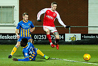 Fleetwood Town's Ashley Hunter is tackled by Shrewsbury Town's Aristote Nsiala<br /> <br /> Photographer Alex Dodd/CameraSport<br /> <br /> The EFL Sky Bet League One - Fleetwood Town v Shrewsbury Town - Tuesday 13th February 2018 - Highbury Stadium - Fleetwood<br /> <br /> World Copyright &copy; 2018 CameraSport. All rights reserved. 43 Linden Ave. Countesthorpe. Leicester. England. LE8 5PG - Tel: +44 (0) 116 277 4147 - admin@camerasport.com - www.camerasport.com