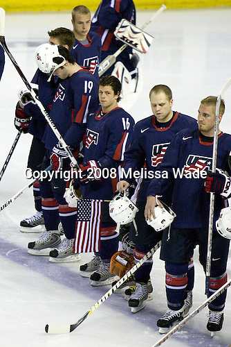 Dustin Brown (USA 23 - Los Angeles Kings/Guelph Storm), Zach Parise (USA 15 - New Jersey Devils/University of North Dakota), Drew Stafford (USA 19 - Buffalo Sabres/University of North Dakota), Nathan Gerbe (USA 16 - Boston College), Phil Kessel (USA 20 - Boston Bruins/University of Minnesota), James Wisniewski (USA 3 - Chicago Blackhawks/Plymouth Whalers) - Team USA defeated Team Sweden 5-1 on Sunday, April 27, 2008, in an exhibition match at the Cumberland County Civic Center in Portland, Maine, prior to the 2008 World Championships.