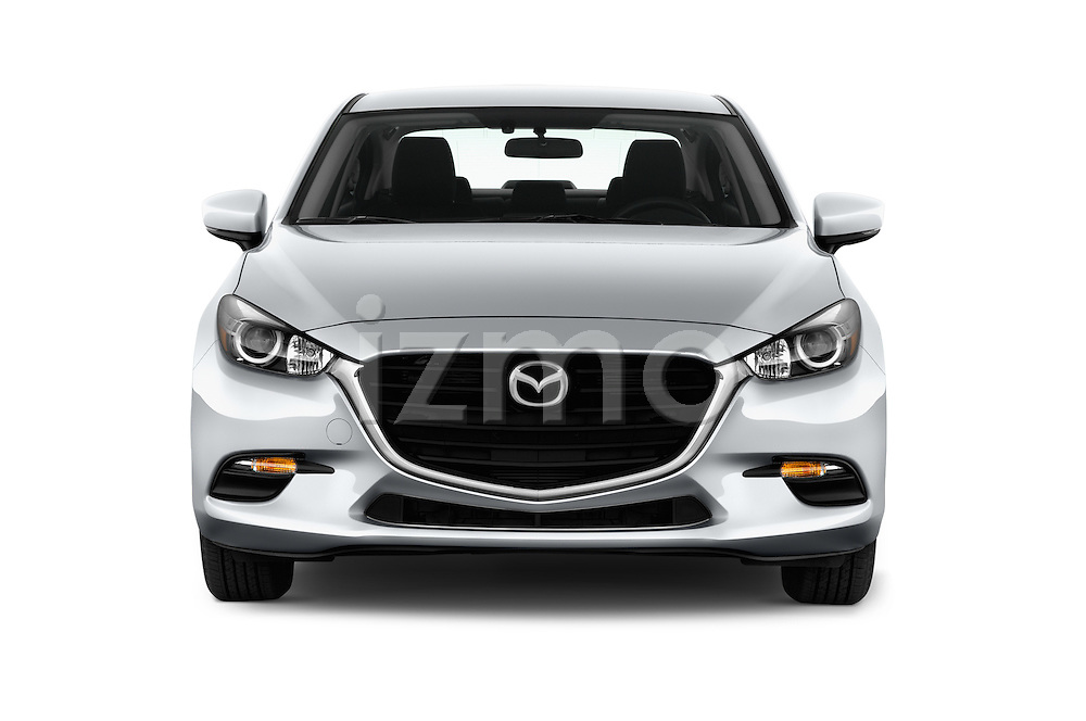 Car photography straight front view of a 2018 Mazda Mazda3 Sport 4 Door Sedan Front View