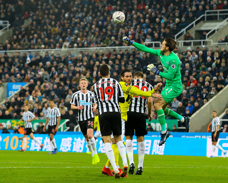 Newcastle United's Freddie Woodman punches under pressure from Blackburn Rovers' Danny Graham<br /> <br /> Photographer Alex Dodd/CameraSport<br /> <br /> Emirates FA Cup Third Round - Newcastle United v Blackburn Rovers - Saturday 5th January 2019 - St James' Park - Newcastle<br />  <br /> World Copyright © 2019 CameraSport. All rights reserved. 43 Linden Ave. Countesthorpe. Leicester. England. LE8 5PG - Tel: +44 (0) 116 277 4147 - admin@camerasport.com - www.camerasport.com