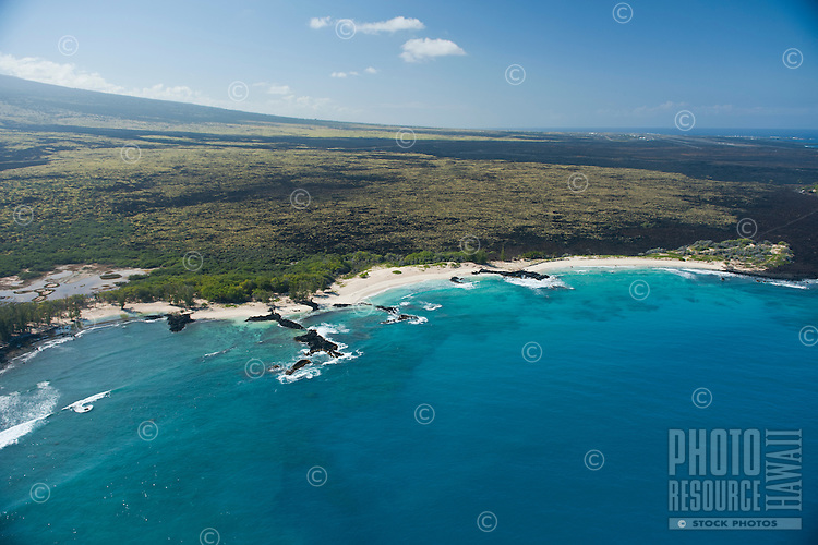 Aerial of Kohala Coast, Makalawena beach