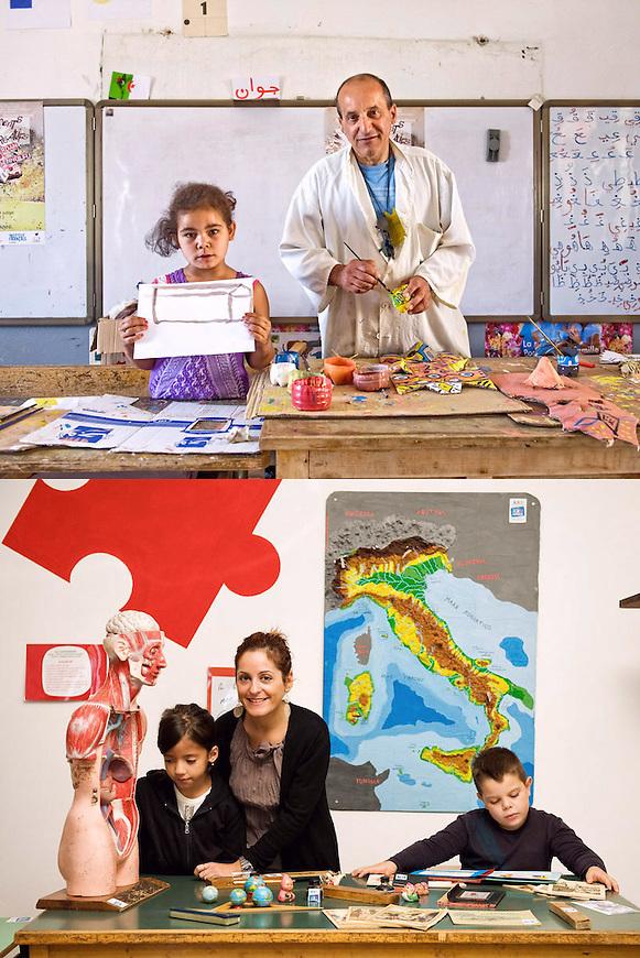 APPRENDERE<br /> Ousmer Djamel, educatore<br /> Katia Margiotta, insegnante<br /> <br /> S&rsquo;impara per esempi,<br /> si prende se si &egrave; seri.<br /> Anche l&rsquo;arte ha le sue leggi<br /> ci vuole impegno,<br /> metodo e poi, <br /> solo dopo<br /> un po&rsquo; di colore.<br /> <br /> Niente paura,<br /> nessuno spavento<br /> vi accompagno io.<br /> Sempre c&rsquo;&egrave;<br /> una guida<br /> per percorrere <br /> le strade<br /> ma si prende<br /> solo se si &egrave; seri,<br /> s&rsquo;impara per esempi<br /> ma anche per propria, <br /> accesa volont&agrave;.
