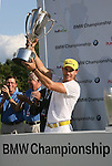 7 September 2008:   Camilo Villegas hoists the J.K. Wadley trophy after winning the BMW Golf Championship at Bellerive Country Club in Town & Country, Missouri, a suburb of St. Louis, Missouri on Sunday September 7, 2008. The BMW Championship is the third event of the PGA's  Fed Ex Cup Tour.
