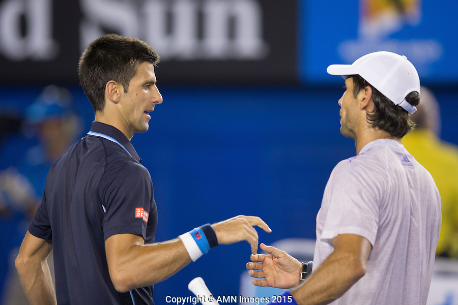Novak Djokovic (SRB) and Fernando Verdasco (ESP)<br /> <br /> Tennis - Australian Open 2015 - Grand Slam -  Melbourne Park - Melbourne - Victoria - Australia  - 24 January 2015. <br /> &copy; AMN IMAGES