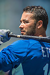 22 June 2013: Los Angeles Dodgers outfielder Andre Ethier awaits his turn in the batting cage prior to a game against the San Diego Padres at Petco Park in San Diego, California. The Dodgers defeated the Padres 6-1 in the third game of their 4-game Divisional Series. Mandatory Credit: Ed Wolfstein Photo *** RAW (NEF) Image File Available ***
