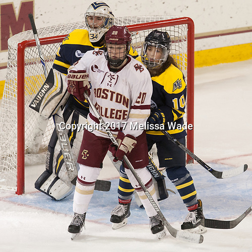 Samantha Ridgewell (Merrimack - 34), Ryan Little (BC - 20), Meghan Martin (Merrimack - 10) - The number one seeded Boston College Eagles defeated the eight seeded Merrimack College Warriors 1-0 to sweep their Hockey East quarterfinal series on Friday, February 24, 2017, at Kelley Rink in Conte Forum in Chestnut Hill, Massachusetts.The number one seeded Boston College Eagles defeated the eight seeded Merrimack College Warriors 1-0 to sweep their Hockey East quarterfinal series on Friday, February 24, 2017, at Kelley Rink in Conte Forum in Chestnut Hill, Massachusetts.