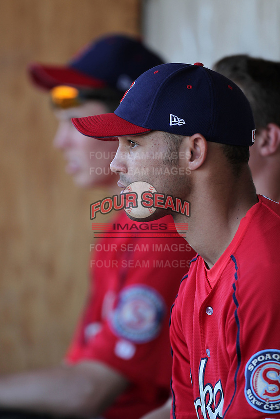 Spokane Indians outfielder Zach Cone #32 before game against the Salem-Keizer Valcanoes at Valcanoes Stadium on August 10, 2011 in Salem-Keizer,Oregon. Salem-Keizer defeated Spokane 7-6.(Larry Goren/Four Seam Images)