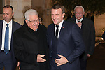 Palestinian President Mahmoud Abbas, welcomes French President Emmanuel Macron at his headquarters, in the West Bank city of Ramallah, on January 22, 2020. Photo by Thaer Ganaim