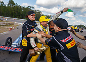 Richie Crampton, DHL, top fuel, victory, celebration, trophy, crew
