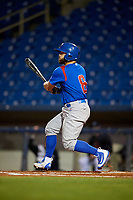 South Bend Cubs catcher Michael Cruz (8) follows through on a swing during the second game of a doubleheader against the Lake County Captains on May 16, 2018 at Classic Park in Eastlake, Ohio.  Lake County defeated South Bend 5-2.  (Mike Janes/Four Seam Images)