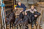 Ann and Denis Lane with their triplets and twin calves that were born on the farm.