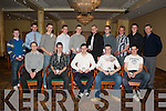 """MEN""""S NATIONAL LEAGUE TEAM: The County Kerry Men's National Team at the AAI Kerry awards night at the Brandon hotel on Saturday seated l-r Colm Lynch (Iveragh AC), Dylan Roche (St. Brendan's AC), David Hogan (St. Brendan's AC), Stewart Nolan (St. Brendan's AC) and PJ Galvin (St. Brendan's AC). Back l-r: Cian Foley (Tralee Harriers AC), Cian Murphy (Iveragh AC), Conal O Callaghan (Spa Muckross AC), Padraig Whelan (Tralee Harriers AC), Luke O'Keeffe (St. Brendan's AC), James Nagle, Ian Crowley, Arthur Fitzgerald and Daniel Clifford (all Farranfore Maine Valley AC) and Patsy O'Connor (Tralee Harriers AC)."""