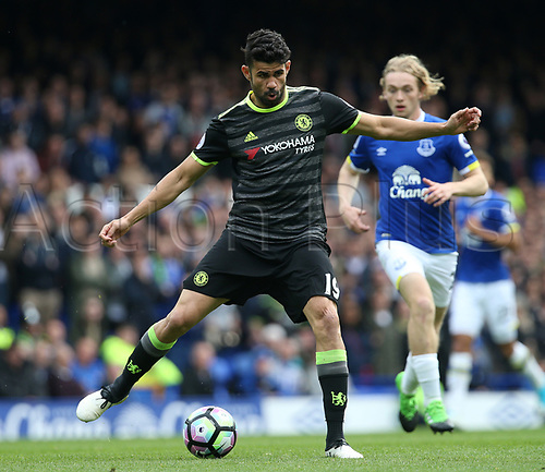 April 30th 2017, Goodison Park, Liverpool, England; EPL Premier league football, Everton versus Chelsea; Diego Costa of Chelsea in action during the second half