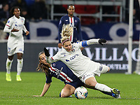 20191116 – LYON ,  FRANCE ; PSG's Sara Dabritz tackles Lyon's Eugenie Le Sommer during a women's soccer game between Olympique Lyonnais and PARIS SG on the 9th matchday of the French Women's first league , D1 of the 2019-2020 season , Saturday 16 th November 2019 at the Groupama stadium in Lyon , France . PHOTO SPORTPIX.BE   SEVIL OKTEM