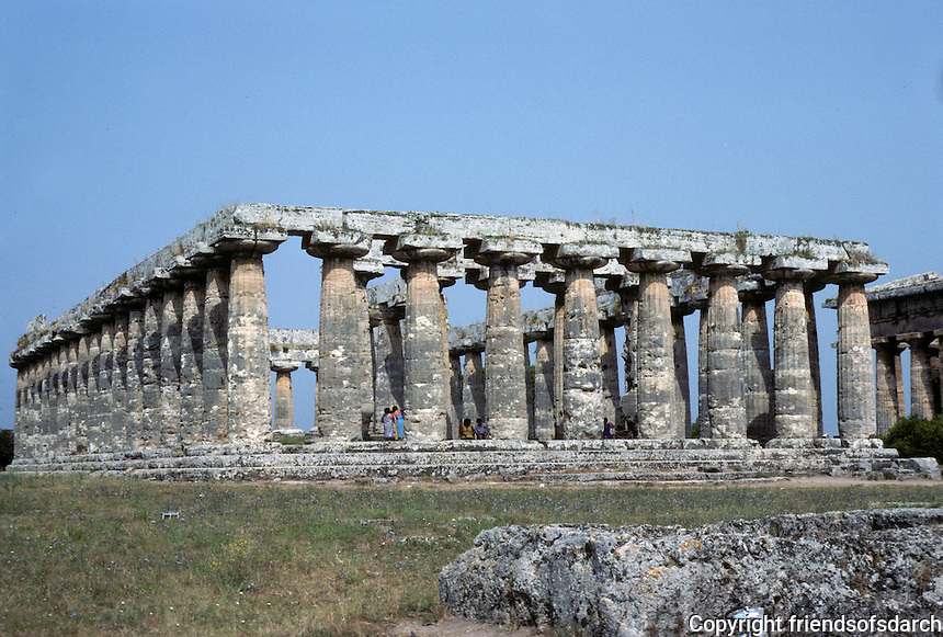 "Italy: Paestum--Temple of Hera I (so-called ""Basilica""), c. 550 B.C. in archaic Doric Style. Photo '83."