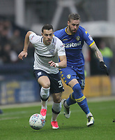 Preston North End's Billy Bodin in action with Leeds United's Pontus Jansson<br /> <br /> Photographer Mick Walker/CameraSport<br /> <br /> The EFL Sky Bet Championship - Preston North End v Leeds United - Tuesday 10th April 2018 - Deepdale Stadium - Preston<br /> <br /> World Copyright &copy; 2018 CameraSport. All rights reserved. 43 Linden Ave. Countesthorpe. Leicester. England. LE8 5PG - Tel: +44 (0) 116 277 4147 - admin@camerasport.com - www.camerasport.com