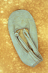 Childs pale blue soft ballet or dancing shoe much used and crinkled lying on antique paper