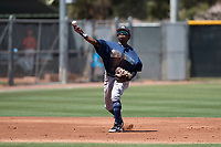 Seattle Mariners shortstop Luis Joseph (28) makes a throw to first base during an Extended Spring Training game against the San Francisco Giants Orange at the San Francisco Giants Training Complex on May 28, 2018 in Scottsdale, Arizona. (Zachary Lucy/Four Seam Images)
