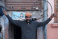 The man with the very long mustache in Bikaner, Rajasthan, India