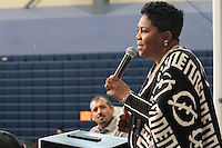 Pastor Traci Blackmon, Executive Minister, United Church of Christ, speaks as part of the U.S. Regional World Meeting of Popular Movement's plenary panel on racism.