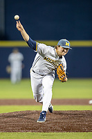 Michigan Wolverines pitcher Jack Weisenburger (48) delivers a pitch to the plate against the Rutgers Scarlet Knights on April 26, 2019 in the NCAA baseball game at Ray Fisher Stadium in Ann Arbor, Michigan. Michigan defeated Rutgers 8-3. (Andrew Woolley/Four Seam Images)
