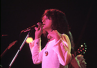 Jon Anderson, the lead vocalist for the progressive rock group Yes performs live in concert.