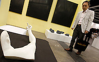 Chinese dissident artist Ai Weiwei's marble sculpture entitled 'Marble Arm' (2007) is displayed by 'Galerie Urs Meile' at ART HK 11, Asia's biggest art fair, Hong Kong, China. Ai Weiwei was arrested for 'economic crimes' at Beijing Airport on 04 April 2011, and has not been seen since. ART HK 11 runs from 26 to 29 May 2011, and hosts 260 galleries from 38 countries.<br /> 25 May 2011