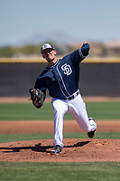 San Diego Padres starting pitcher Nick Margevicius (66) delivers a pitch to the plate during an Extended Spring Training game against the Colorado Rockies at Peoria Sports Complex on March 30, 2018 in Peoria, Arizona. (Zachary Lucy/Four Seam Images)