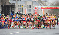 The elite women's field start the IAAF World Half Marathon Championships 2016 in Cardiff, Wales on 26 March 2016. Photo by Mark  Hawkins / PRiME Media Images.