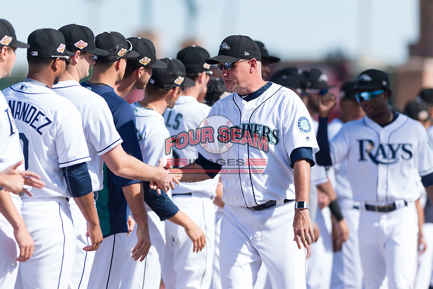 Peoria Javelinas manager Daren Brown (43), of the Seattle Mariners organization, during player introductions before the Arizona Fall League Championship game against the Salt River Rafters at Scottsdale Stadium on November 17, 2018 in Scottsdale, Arizona. Peoria defeated Salt River 3-2 in 10 innings. (Zachary Lucy/Four Seam Images)