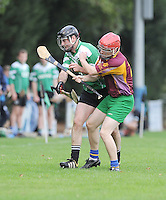 6th October 2013; Richie Burke, Lucan Sarsfields, in action against, Sean Eiffe, St Josephs OBC. Dublin Junior F Hurling Championship Group A, Lucan Sarsfields v St Josephs OBC, 12th Lock, Lucan, Co Dublin. Picture credit: Tommy Grealy / Actionshots.ie