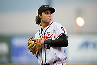 Richmond Flying Squirrels third baseman Jonah Arenado (26) throws to first base during an Eastern League game against the Binghamton Rumble Ponies on May 29, 2019 at The Diamond in Richmond, Virginia.  Binghamton defeated Richmond 9-5 in ten innings.  (Mike Janes/Four Seam Images)