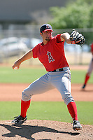 Daniel Tillman #28 of the Los Angeles Angels pitches in a minor league spring training game against the Colorado Rockies at the Angels minor league complex on March 23, 2011  in Tempe, Arizona. .Photo by:  Bill Mitchell/Four Seam Images.