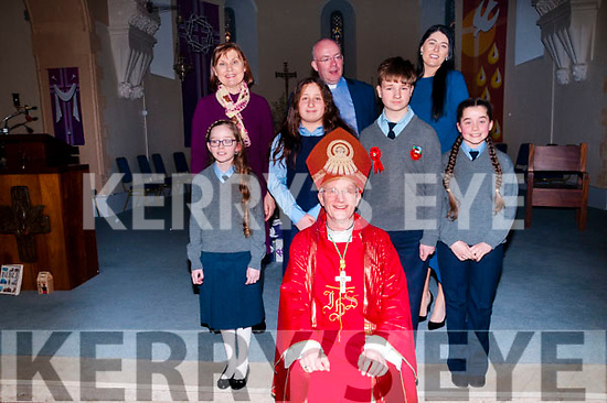 The pupils from Lenamore national school who were confirmed in Ballylongford  church  by Bishop Ray Browne on Friday last with their teachers M/S O'Keeffe & M/s Mulvihill & Fr.Kennelly, PP Ballylongford.