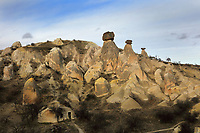 Twin fairy chimneys in Nevsehir province, Cappadocia, Central Anatolia, Turkey. The chimneys were formed by erosion of the volcanic tuff created by ash from volcanic eruptions millions of years ago, and have caps of basalt on top which is slower to erode. Many of the chimneys have been hollowed out to form dwellings. This area forms part of the Goreme National Park and the Rock Sites of Cappadocia UNESCO World Heritage Site. Picture by Manuel Cohen
