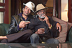 Portrait photograph of Mario Van Peebles and his father, Melvin Van Peebles, shot in London for Empire Magazine