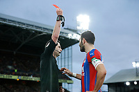5th January 2020; Selhurst Park, London, England; English FA Cup Football, Crystal Palace versus Derby County; Referee Michael Oliver giving a red card to Luka Milivojevic of Crystal Palace after Luka Milivojevic of Crystal Palace headbutts Tom Huddlestone of Derby County after checking the touchline VAR monitor  - Strictly Editorial Use Only. No use with unauthorized audio, video, data, fixture lists, club/league logos or 'live' services. Online in-match use limited to 120 images, no video emulation. No use in betting, games or single club/league/player publications