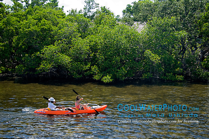 kayaking in Lake Worth, a preserved, pristine estuary, John D. MacArthur Beach State Park, North Palm Beach, Florida
