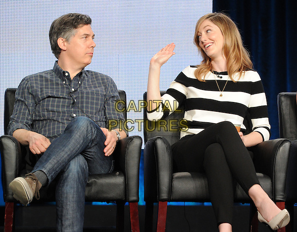 2015 FX WINTER TCA: (L-R) Cast members Chris Parnell and Judy Greer during the ARCHER panel at the 2015 FX WINTER TCA on Sunday, Jan. 18 at the Langham Hotel in Pasadena CA.   <br /> CAP/MPI/PGFM<br /> &copy;PGFM/MPI/Capital Pictures