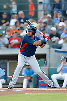 Potomac Nationals .second baseman Bryan Mejia (2) at bat during a game against the Myrtle Beach Pelicans at Ticketreturn.com Field at Pelicans Ballpark on July 19, 2018 in Myrtle Beach, South Carolina. Potomac defeated Myrtle Beach 6-3. (Robert Gurganus/Four Seam Images)