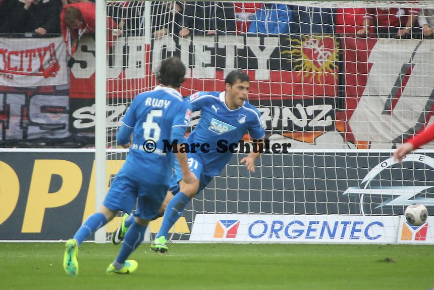 Kevin Volland (Hoffenheim) erzielt das 0:1 und jubelt - 1. FSV Mainz 05 vs. TSG 1899 Hoffenheim, Coface Arena, 8. Spieltag