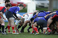 Russian scrum half Gleb Babkin gets ready to feed the scrum during the IRB U19 World Championship Division B first round match played at Gibson Park, Belfast. Result Russia 0 USA 6.
