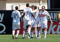 April 11, 2009: Fire teammates celebrates Brian McBride's goal during a game against Earthquakes at Buck Shaw Stadium in Santa Clara, California. San Jose Earthquakes and Chicago Fire tied, 3-3