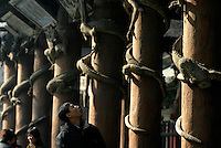 Tourists and worshippers marvel at columns of intricately carved dragons at the Jin Ancestral Temple near Taiyuan, Shanxi Province, China. The Jin Temple is one of the oldest architecture complex in China, originating as far as 500 A.D. during the Northern Wei Dynasty and saw various renovations and expansions in successive dynasties..08-FEB-04