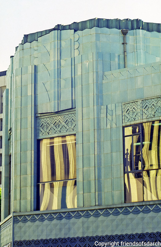Art Deco detail of Wiltern Theater, Los Angeles. Blue-green glazed terra-cotta tile. Designed by Morgan Walls & Clements.