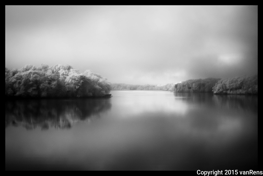 5:00am IR shot on Red Cedar Lake, WI.  An elusive black fox scurred nearly during the shot.  Rare sighting.
