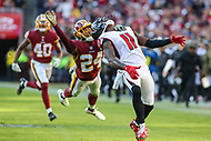 Landover, MD - November 4, 2018: Washington Redskins cornerback Josh Norman (24) is called for pass interference on Atlanta Falcons wide receiver Julio Jones (11) during the  game between Atlanta Falcons and Washington Redskins at FedEx Field in Landover, MD.   (Photo by Elliott Brown/Media Images International)