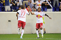 Juan Agudelo (17) of the New York Red Bulls celebrates scoring with Dane Richards (19). The New York Red Bulls  and the Vancouver Whitecaps played to a 1-1 tie during a Major League Soccer (MLS) match at Red Bull Arena in Harrison, NJ, on September 10, 2011.