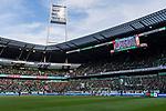 """02.11.2019, wohninvest WESERSTADION, Bremen, GER, 1.FBL, Werder Bremen vs SC Freiburg<br /> <br /> DFL REGULATIONS PROHIBIT ANY USE OF PHOTOGRAPHS AS IMAGE SEQUENCES AND/OR QUASI-VIDEO.<br /> <br /> im Bild / picture shows<br /> Banner in Block 2 vor wohninvest Loge verdeckt die Sicht auf Spielfeld, <br /> Schriftzug """"Immobilienhaie - Vorsicht bissig!"""", <br /> <br /> Foto © nordphoto / Ewert"""