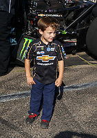 Aug 21, 2016; Brainerd, MN, USA; Jacob Hood , son of former NHRA funny car driver Ashley Force Hood during the Lucas Oil Nationals at Brainerd International Raceway. Mandatory Credit: Mark J. Rebilas-USA TODAY Sports
